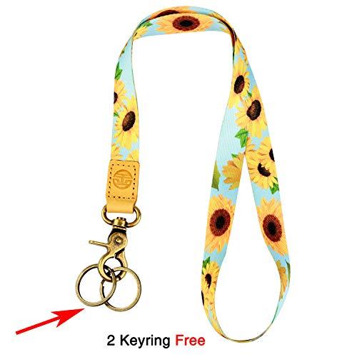 Neck Lanyard Keychain Holder with 2 Free Keyring (Sunflower)