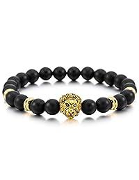 MOWOM Gold Tone Black 8mm Wide Alloy Bangle Link Wrist Simulated Agate Energy Stone Buddha Mala Bead Lion Elastic