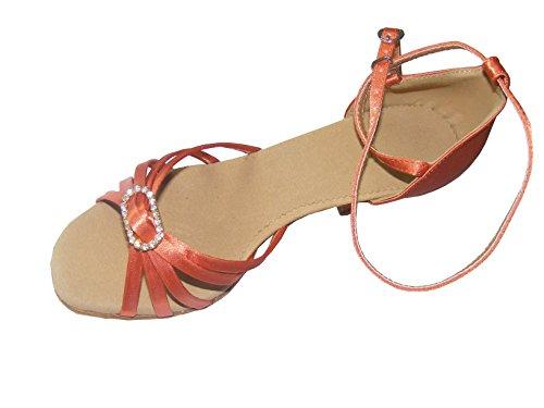 Pobofashion Hautfarbene/apricotfarbene Satin-Damentanzschuhe mit elegantem Diamantring für lateinamerikanische Tänze apricotfarben