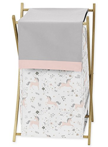 Pink, Grey and Gold Baby Kid Clothes Laundry Hamper for Unicorn Collection by Sweet Jojo Designs by Sweet Jojo Designs