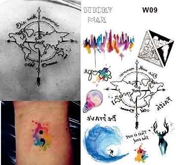 Líneas Tattoo Agua Colores Aquarelle Fake Tatuajes flash Tatuajes ...