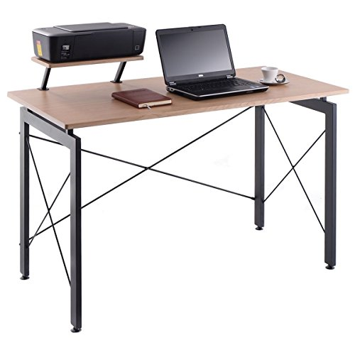 CHEFJOY Computer Desk PC Laptop Table Wood Workstation Study Home Office Furniture (Natural & Gray with Printer Shelf) by CHEFJOY