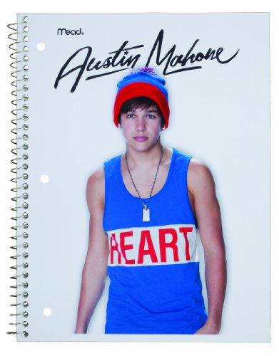 Austin Mahone Notebook, 1-Subject, 70 Wide-Ruled Sheets, 8 x 10.5 Inch Sheet Size, Heart Design (72914)