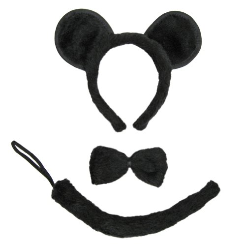 Gray Mouse Ears And Tail Costume (SeasonsTrading Black Mouse Ears, Tail, & Bow Tie Costume Set ~ Halloween Costume Kit)