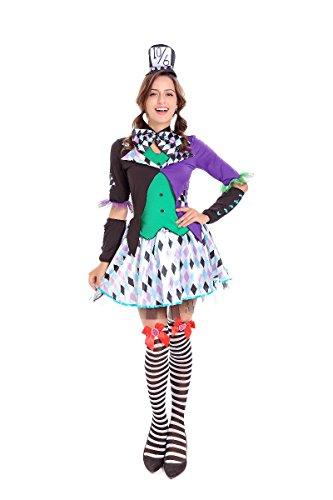JJ-GOGO Circus Clown Costume - Halloween Fancy Sexy Clown Magic Tuxedo Costume -
