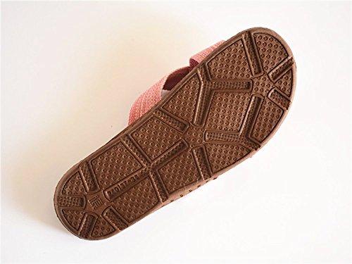 Slip On Zapatillas Puntera Abierta unisex sandalias de mulas absorbe la humedad de lino zapatos zapatillas de interior o al aire libre para adultos Marino