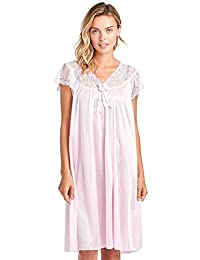 Casual Nights Women's Satin Scalloped Neck Short Sleeve Nightgown