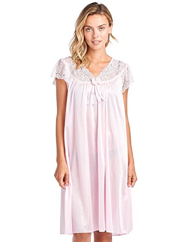 Casual Nights Women's Fancy Lace Neckline Silky Tricot Nightgown, Lt Pink, Large
