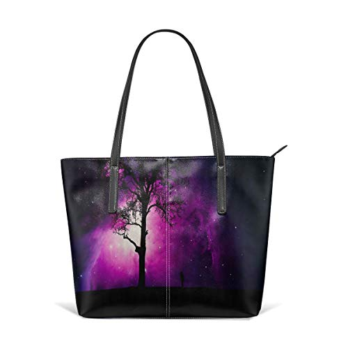 - Beach Tote Bags Travel Totes Bag Shopping Zippered Tote for Women Foldable Waterproof Overnight Handbag - Pink Cosmic Tree