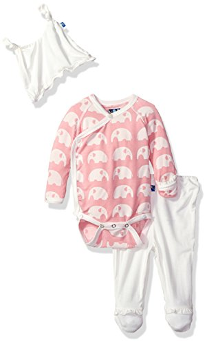 Elle Gift Set - Kickee Pants Baby Girls' Essentials Ruffle Kimono Git Set with Hanger, Lotus Elephant, Newborn
