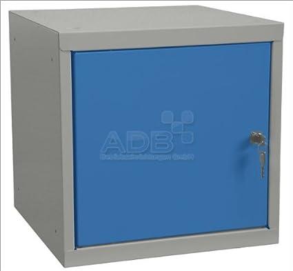 ADB Wertfach-Schrank Schließ fach-Schrank Spind Wü rfel Zylinderschloss 40x40x40cm Lichtgrau (RAL 7035) / Lichtblau (RAL 5012)