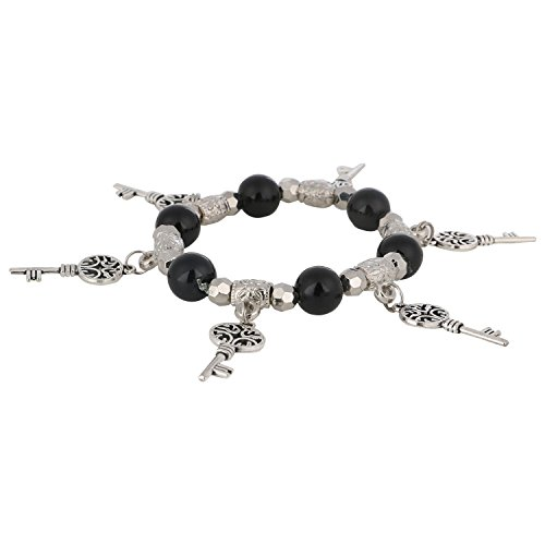 Plated Silver Bracelet Stretch Beaded (Efulgenz Handmade Black Stone (8 mm) Beaded Stretch Silver Plated Hanging Keys Charm Bracelet for Women and Girls)