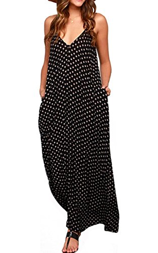 LILBETTER Women's Loose V-Neck Sleeveless Dot Print Boho Long Maxi Dress (Black,L) (V-neck Sundress Print)