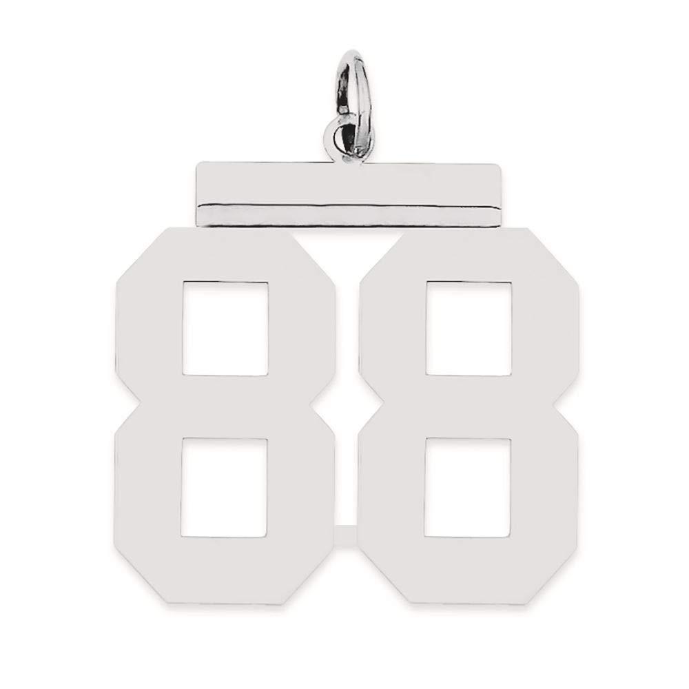 Sterling Silver Large Polished Number 88 Charm Pendant