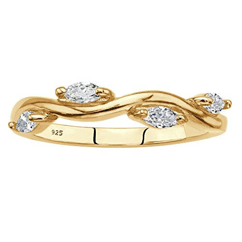 Palm Beach Jewelry 18K Yellow Gold Over Sterling Silver Marquise Cut Cubic Zirconia Vine Ring Size 8