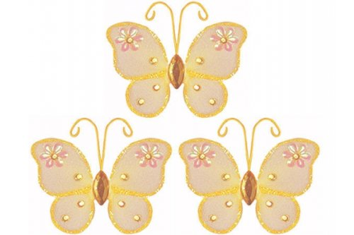 The Butterfly Grove Adelaide Butterfly Decoration 3D Hanging Mesh Nylon Decor, Orange Creamsicle, Mini, 3