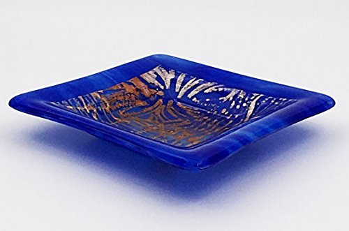 Handcrafted Fused Glass Decorative Bowl in Bright Blue with Metallic Copper, Gold and Silver (Fused Glass Bowl)