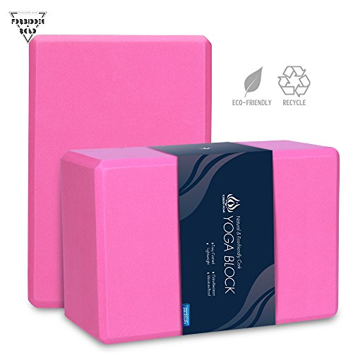 Forbidden Road Cork/EVA Yoga Block Yoga Exercise Blocks Bricks Set Natural Eco Friendly Sturdy Support Muscle Stretch Deepen Poses for Fitness Gym (Rose (2 Blocks - 469 inch), 469 inch)