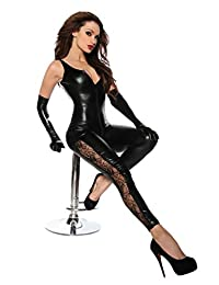 Women's Sexy Club DS Wear See-through Open Crotch Imitation Leather Bodysuits