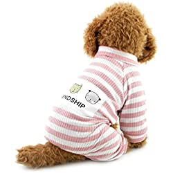 SMALLLEE_LUCKY_STORE Small Dog Jumpsuit Pet Cat Outfits Doggie Apparel for Boy Pet Shirt, XX-Large, Pink