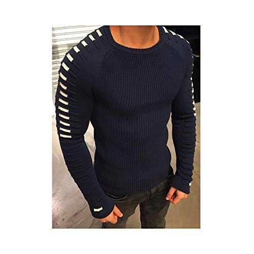 Hirate Winter Men's Knitted Sweater Casual Striped Long Sleeve Pullover Sweater Spring Elastic Patchwork (XL, Dark Blue) by Hirate