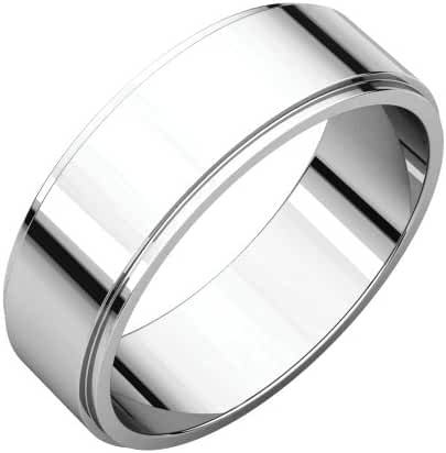 Platinum 6mm Flat Edge Band, Ring Size 7