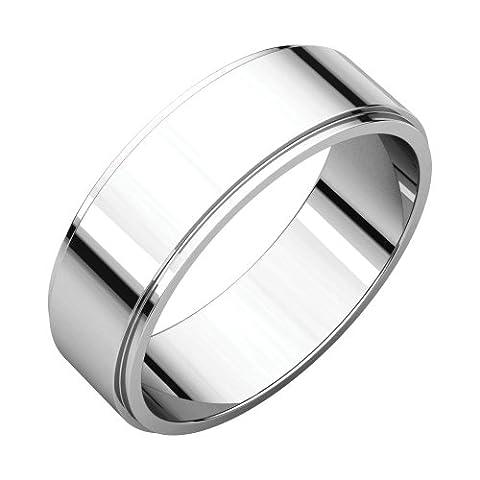 18k White Gold 6mm Flat Edge Band, 18kt White gold, Ring Size 10.5 (6 Mm White Gold Band)