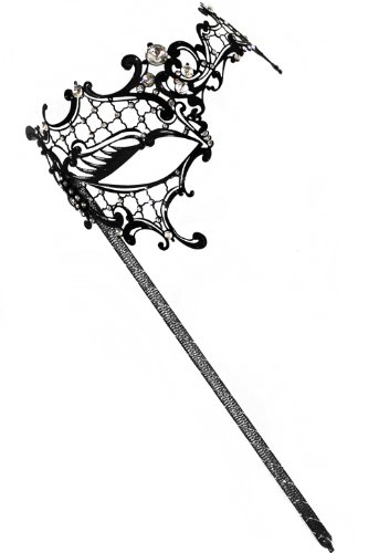 Success Creations Colette Laser-Cut Metal Black Venetian Women's Masquerade Mask on a Stick -