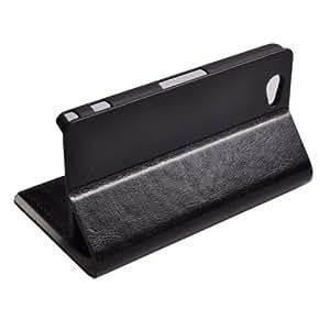 Voguecase de poliuretano Funda de piel tipo libro con función atril para Sony Xperia Z1 Mini negro
