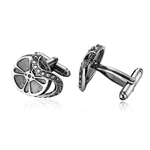 Mens Cufflinks Vintage Film Reel Stainless Steel Cufflinks Silver Black Dad Unique Jewelry Box Fancy Elegant Aooaz