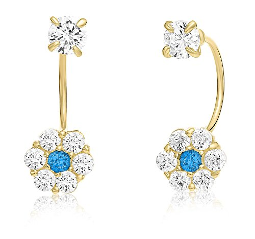 10k Yellow Gold Halo Flower Stud and Solitaire CZ Front-back Earrings with Simulated Birthstone