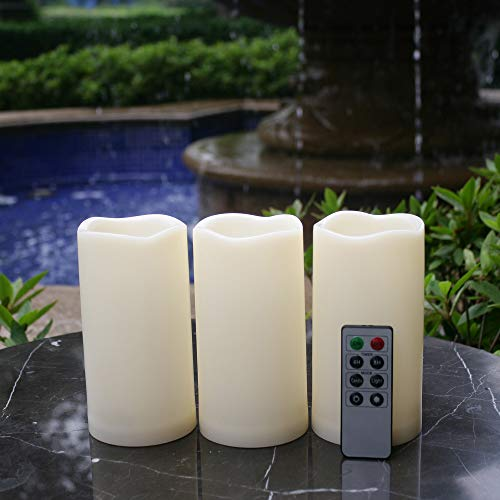 - Outdoor Flameless LED Waterproof Pillar Candle with Remote Timer Battery Operated Indoor Plastic Flickering Decorative Candle Lights for Home Garden Wedding Birthday Party Décor Gift Choice 3-Pack