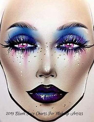 2019 Blank Face Charts For Makeup Artists: 2019 Blank Face Chart Book Large 8.5x11