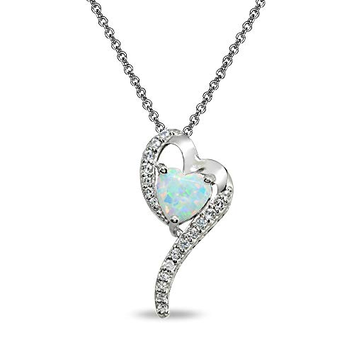 - Sterling Silver Simulated White Opal Heart Slide Pendant Necklace with Cubic Zirconia Accents