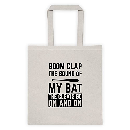 Boom Clap The Sound Of My Bat The Cleats Go On And On Player Sports Baseball Gamer Cool Funny Message Outdoor Humor Grocery Shopping Pink Tote Bag