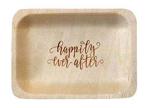 """Happily Ever After"" StatementWare Disposable Wedding Plates (50-pack)-100% Natural, Eco-Friendly Alternative to Plastic Wedding Plates, Catering Plates and Dessert Plates (7.5"" x 5.5"")"
