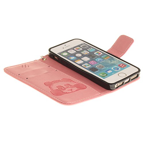 Für Apple iPhone 5 5G 5S / iPhone SE (4 Zoll) Tasche ZeWoo® Ledertasche Kunstleder Brieftasche Hülle PU Leder Schutzhülle Case Cover - TX023 / Panda (Rosa)