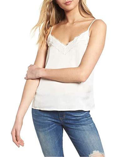 TOTOFITS Women's V Neck Lace Trim Satin Cami Striped Basic Adjustable Spaghetti Strap Camisole Tank Top (White, XL)
