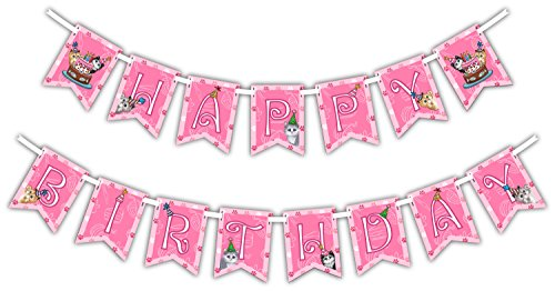Kitty Cat Pink Kitten Happy Birthday Party Banner Decoration (Includes 23ft Ribbon)