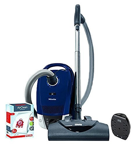 Miele Compact C2 Electro+ Powerline Canister Vacuum, Marine Blue - ReVIVE Rapid Dual USB 6 Outlet Wall AC Adapter, & 10123220 AirClean 3D Efficiency Dust Bag, Type FJM, 4 Bags & 2 Filters (Bundle) by Vacuum Cleaner Bundle