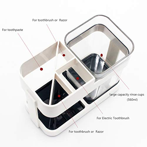 Funly mee Toothbrush and Toothpaste Stand Holder with 1 Cups for Bathroom Storage Organizer, 4 Slots for Electric Toothbrush, Toothpaste, Razor (1 Cup)