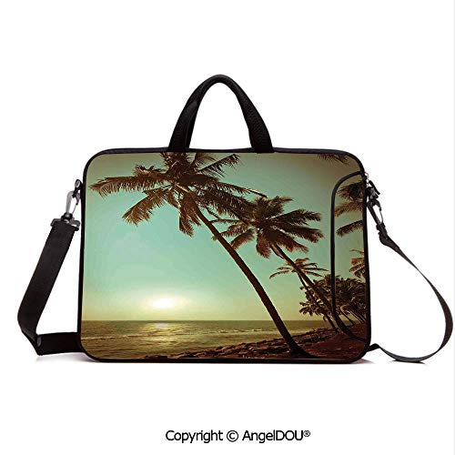 - AngelDOU Waterproof Laptop Sleeve Bag Neoprene Carrying Case with Handle & Strap Sunset Tropical Beach Dusk on Pacific Ocean Vintage Exotic Landscape Print for Women &Men Work Home Office Green Brow