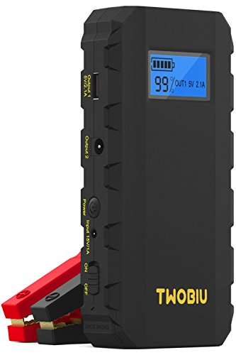 TWOBIU 500A Portable Car Battery Jump Starter Car Battery Charger Jump Starter Portable Jump Starter with Car Jump Starter Jumper Cables Heavy Duty