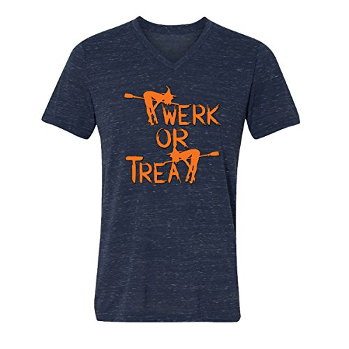 V-Neck for Men Halloween Costumes Twerk Treat Funny Costumes Men's V-Neck Shirts(Navy Marble,Medium) -