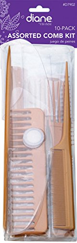 (Diane Assorted 10 Piece Comb Set Bone #7902)