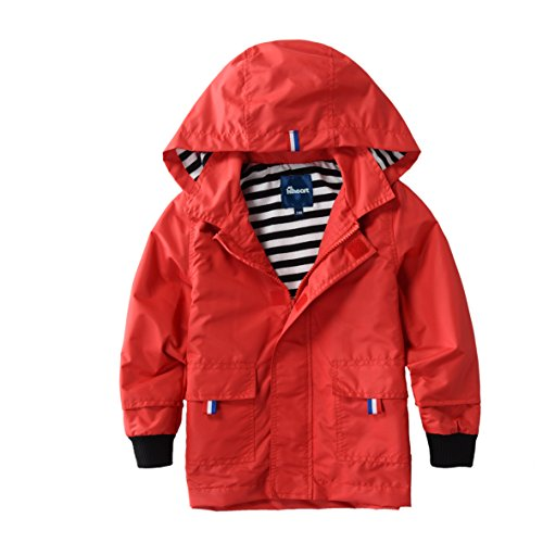 Lined Red Jacket - Hiheart Boys Waterproof Hooded Jackets Cotton Lined Rain Jackets Red 4/5