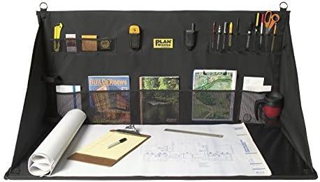 garage work station. plan station portable standing desk, workbench, work station, storage for jobsite, garage, office, shop, hanging surface, 20+ pockets, black (ws3800) garage