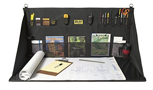 Heavy Duty Jobsite Storage - Plan Station Portable Standing Desk, Workbench, Work Station, Storage for Jobsite, Garage, Office, Shop, Hanging Work Surface, 20+ Pockets, Black (WS3800)