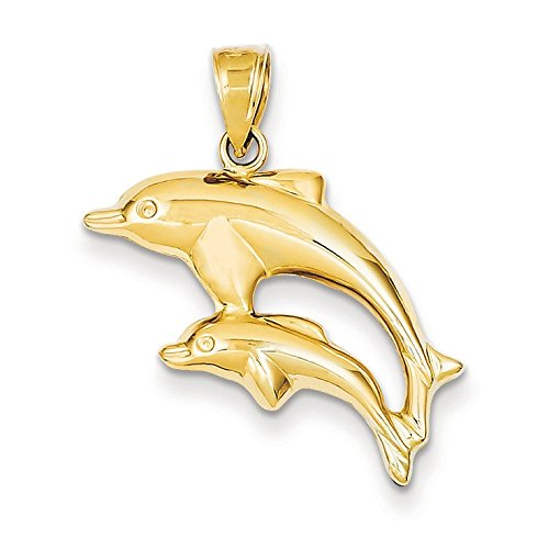 Or 14ct-Pendentif Dauphin Paire-Dimensions 28,8x 20.1mm