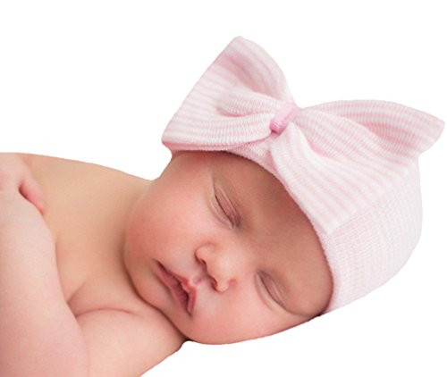 (Melondipity So Sweet Pink & White Striped Big Bow & Ribbon Newborn Girl Hospital Hat)
